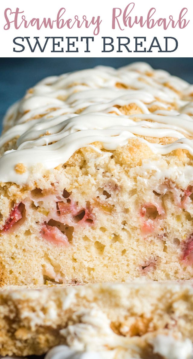 A classic summer flavor combination! Use fresh strawberries and rhubarb in this easy Strawberry Rhubarb Bread. A quick bread for breakfast or dessert! via @tastesoflizzyt
