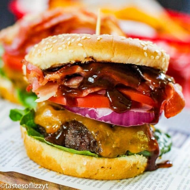 hamburger with cheese, bacon and barbecue sauce