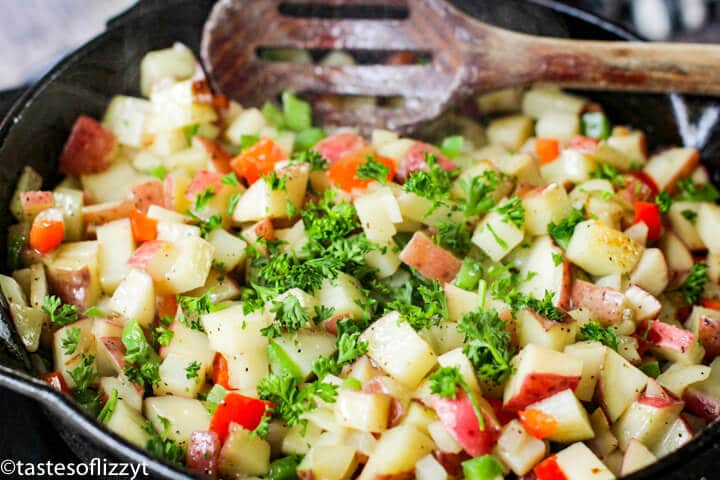 potatoes with fresh parsley on top