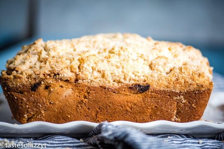 rhubarb bread loaf on plate