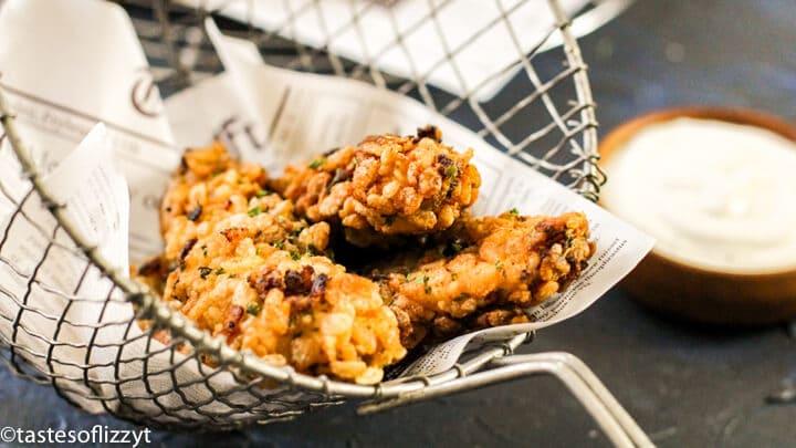 rice krispies chicken tenders in a basket