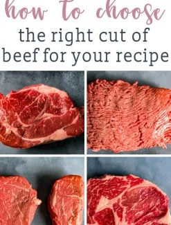 We're decoding beef cuts and helping you know how to choose the right cut of beef for your recipe. Choose the best cut of meat for burgers, grilling, braising and roasting.