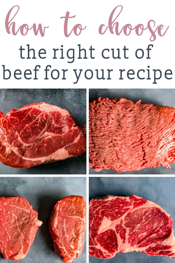 We're decoding beef cuts and helping you know how to choose the right cut of beef for your recipe. Choose the best cut of meat for burgers, grilling, braising and roasting. #beef #steak #groundbeef via @tastesoflizzyt