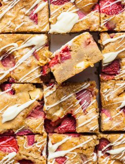 cut cookie bars with one sticking up