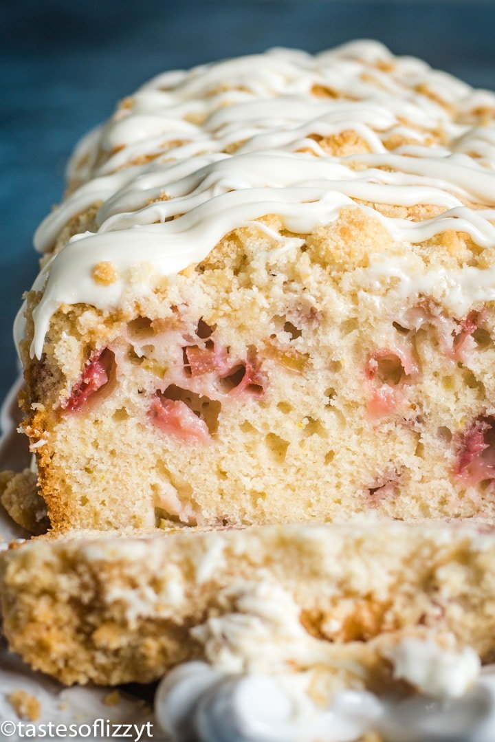 A close up of a loaf of rhubarb bread