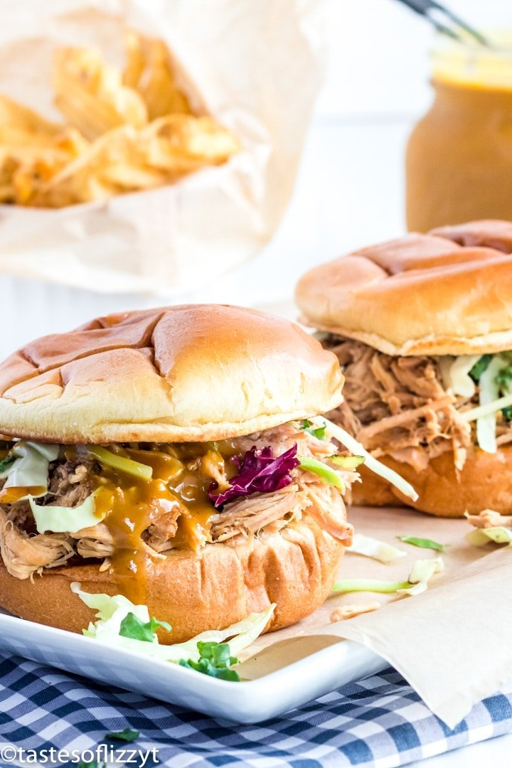 A close up of pulled pork sandwiches