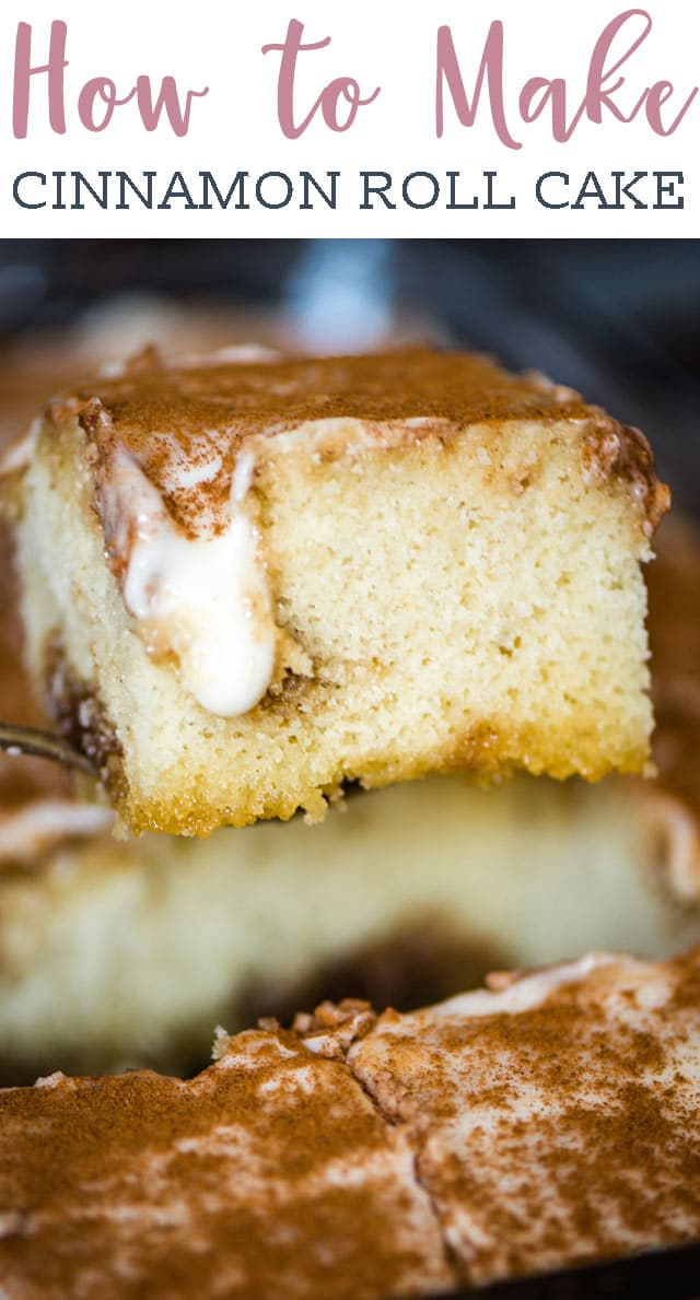 Make an easy coffee cake for breakfast that tastes just like a soft sweet roll! This Cinnamon Roll Cake has a cinnamon sugar swirl and is topped with cream glaze. #cake #breakfast #cinnamonroll via @tastesoflizzyt