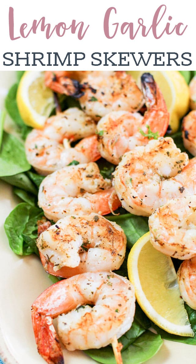 Looking for an easy grilled shrimp recipe? Try these Lemon Garlic Shrimp Skewers. They are made with colossal shrimp and have amazing flavor! via @tastesoflizzyt