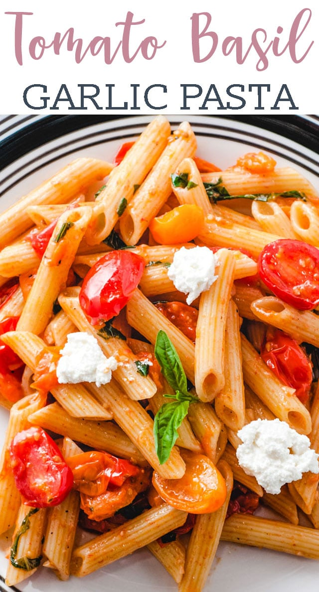 Use fresh garden grape tomatoes in this easy meatless vegetarian recipe! Tomato Basil Pasta dinner comes together in about 30 minutes. via @tastesoflizzyt
