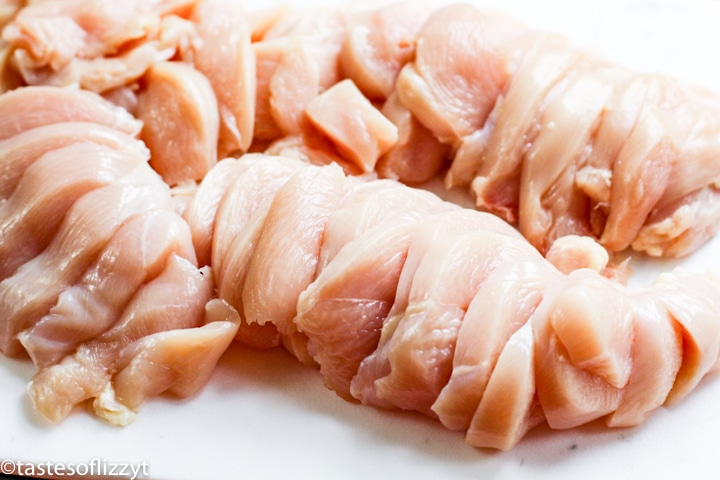 sliced raw chicken breasts