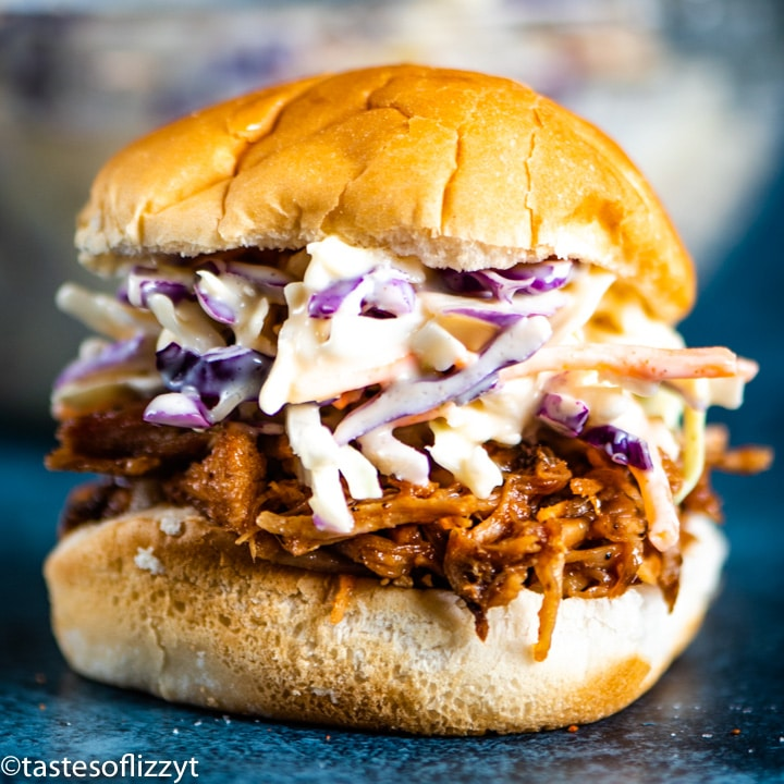 pork with coleslaw sandwich