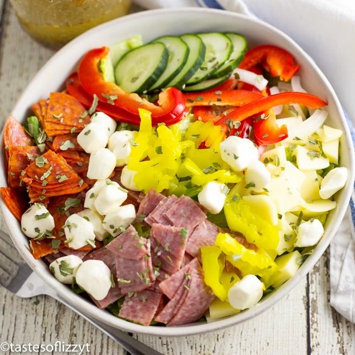 italian sub salad recipe in a large bowl