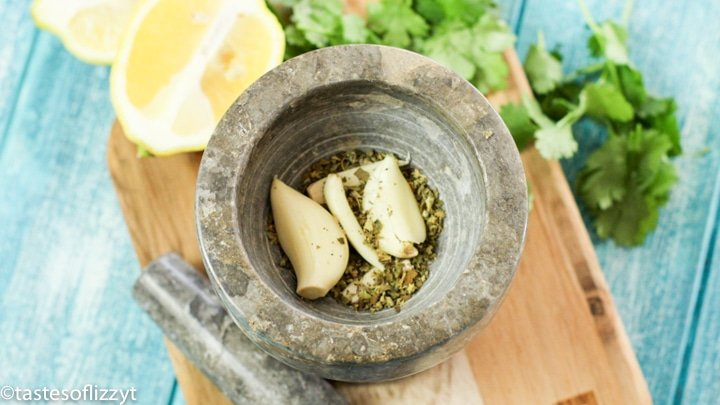 garlic and herbs in bowl