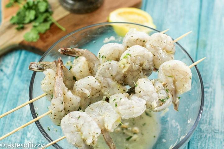 uncooked shrimp skewers