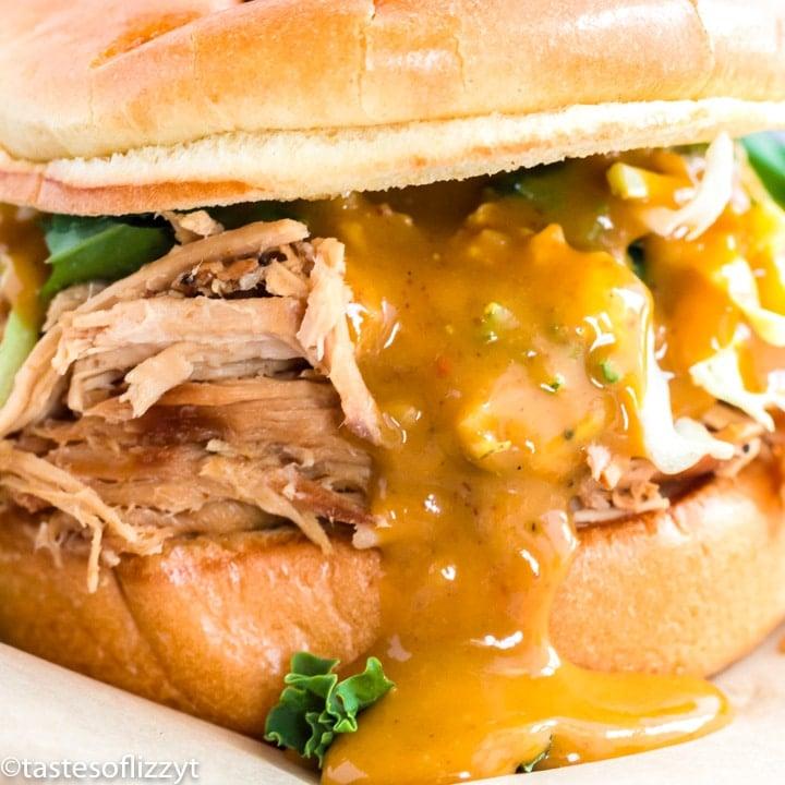 pork sandwich with mustard bbq sauce