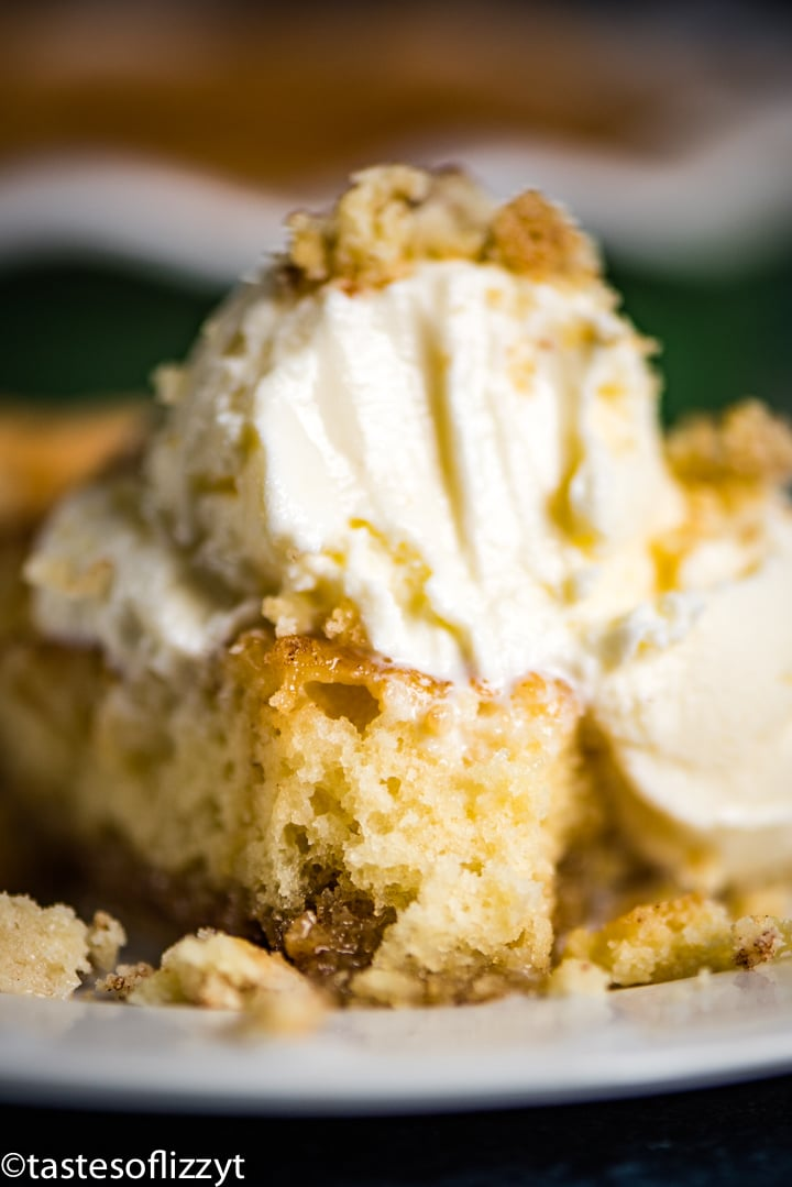 slice of snickerdoodle pie with ice cream