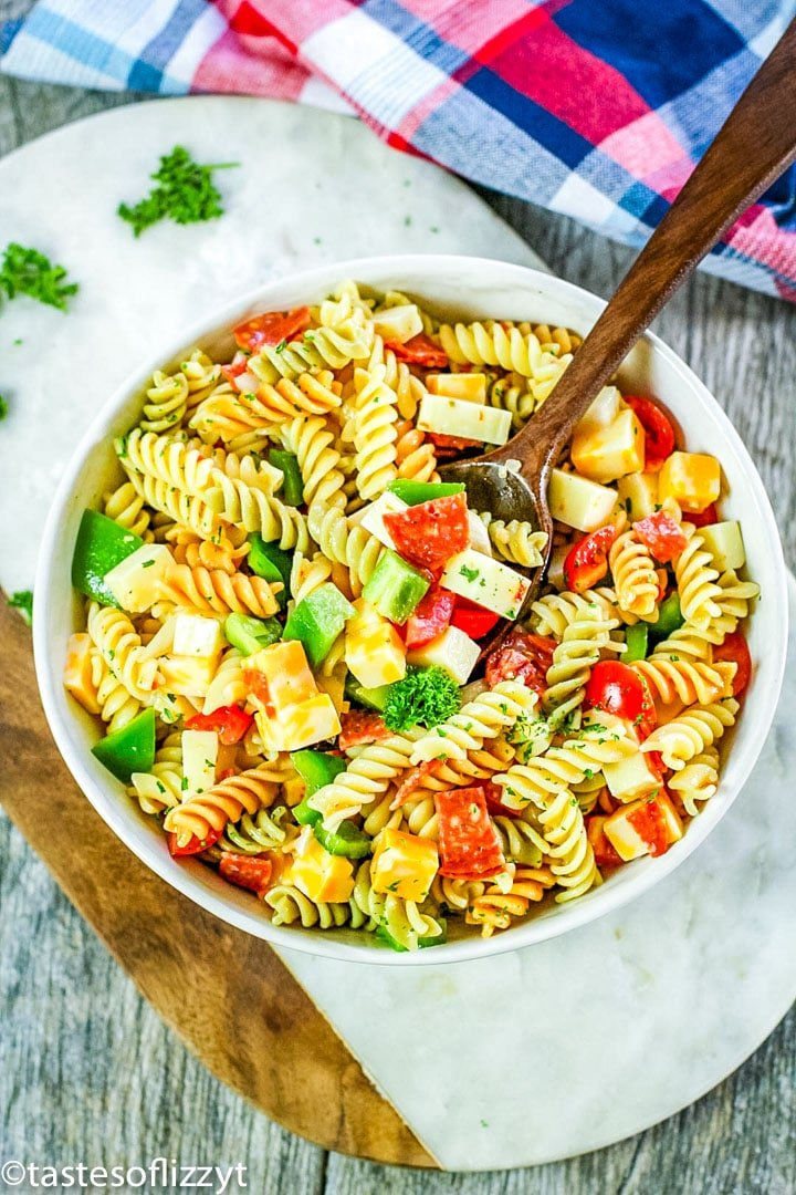 overhead view of pasta salad in a bowl