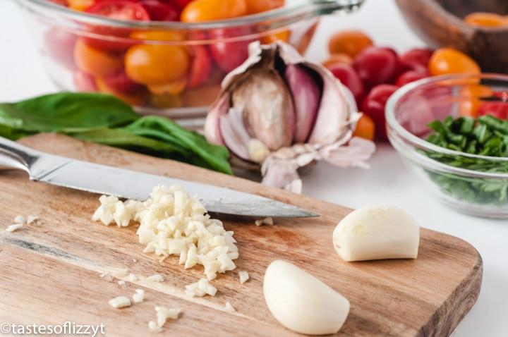 minced garlic on cutting board