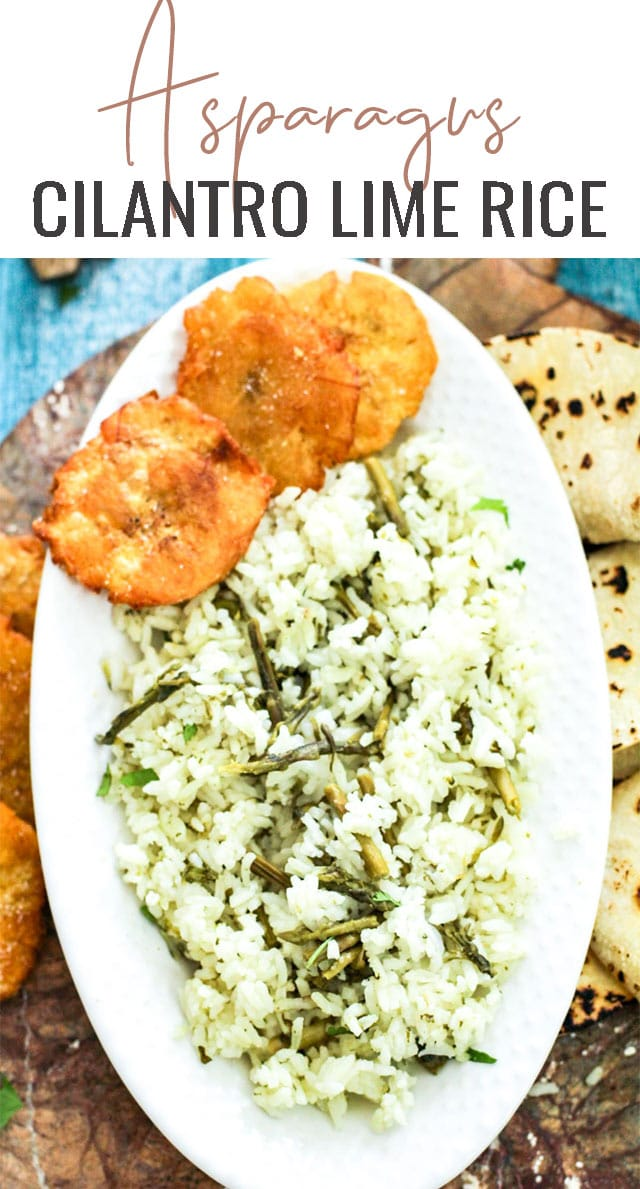Light and airy, this asparagus cilantro lime rice recipe is a great busy weeknight recipe that is perfect to serve on the side for Taco Tuesdays! #rice #cilantro #asparagus via @tastesoflizzyt