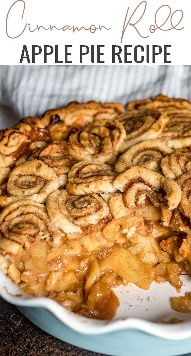 What's better than traditional apple pie? Cinnamon Roll Apple Pie! Tips for making the best apple pie with a buttery, homemade cinnamon roll crust. #cinnamonroll #applepie #pie #apple via @tastesoflizzyt