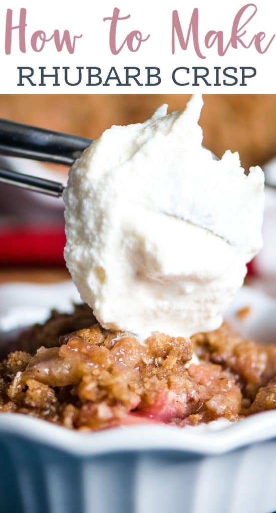ice cream scooping on top of rhubarb crisp