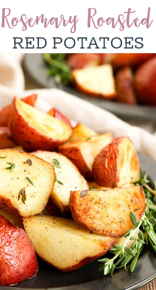 Fresh rosemary and thyme herbs are infused into these oven baked Rosemary Roasted Potatoes. An easy side dish with only 5 minutes prep that goes with just about any dinner. via @tastesoflizzyt