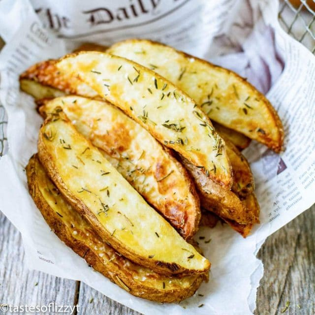 Air Fryer Potato Wedges with fresh rosemary