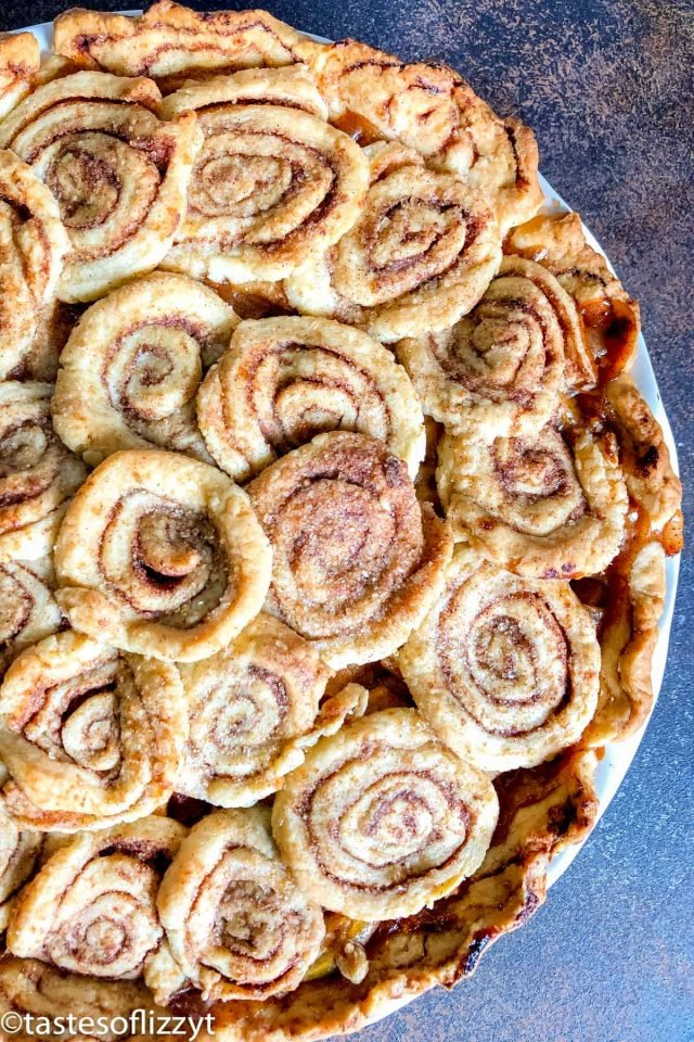 overhead view of cinnamon roll pie
