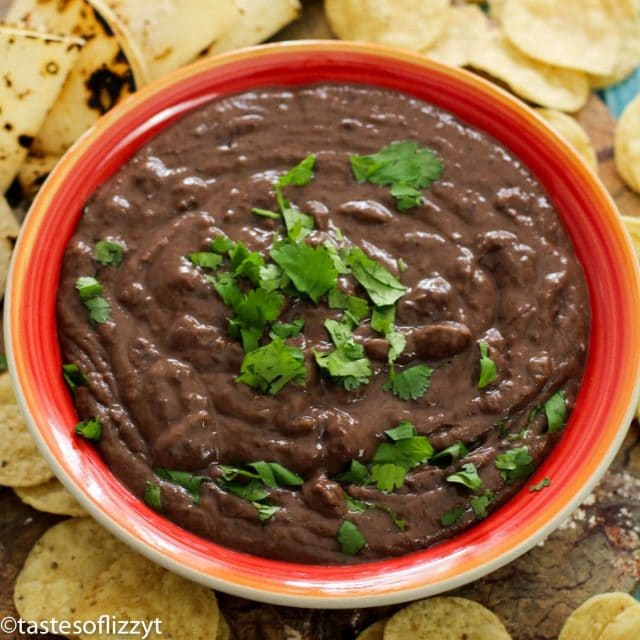 Instant Pot Refried Black Beans in a bowl