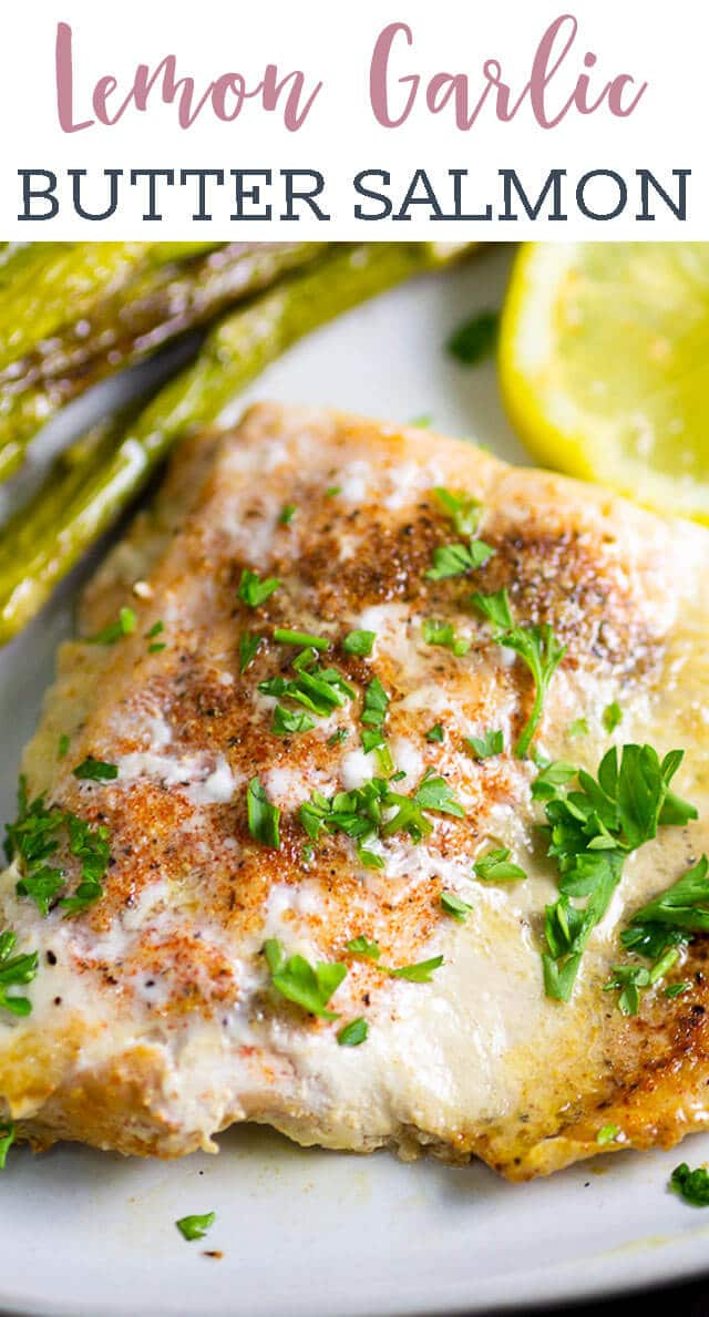 This Lemon Garlic Butter Salmon will melt in your mouth! Pan fried salmon is golden brown with amazing flavor. This low carb dinner recipe is ready in under 30 minutes. #seafood #salmon #garlic via @tastesoflizzyt