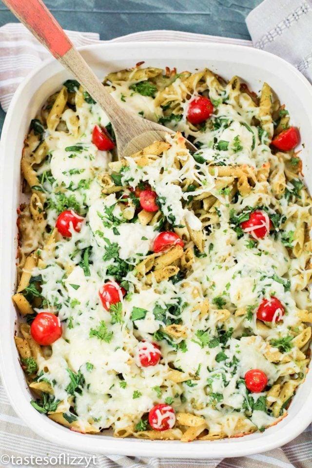 baked pesto pasta casserole