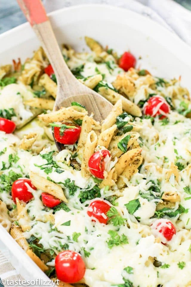 casserole with pasta and pesto