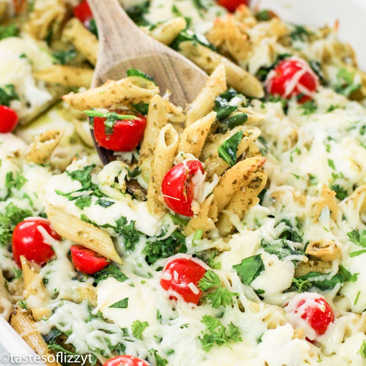 Pesto Pasta Bake with mozzarella