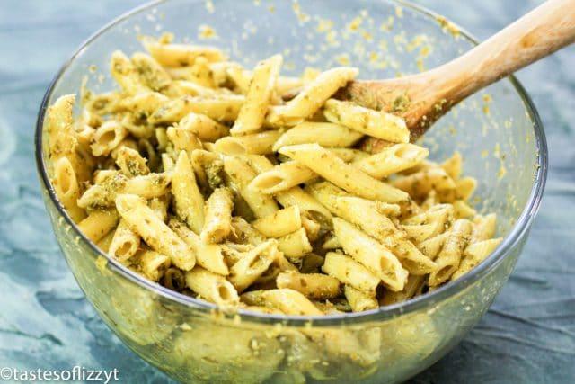 mixed pasta with pesto