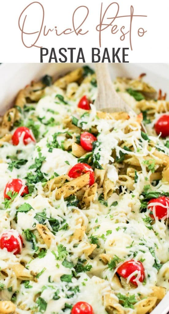 baked pesto pasta casserole with cheese