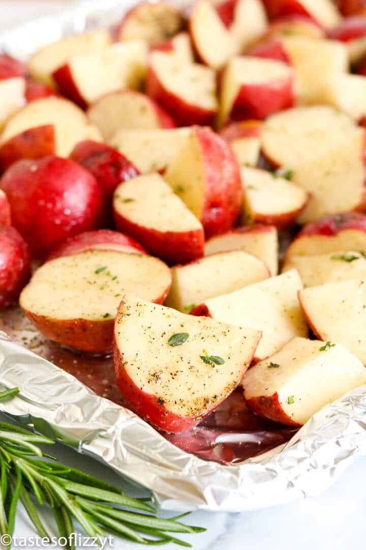 red potatoes on a baking sheet with foil
