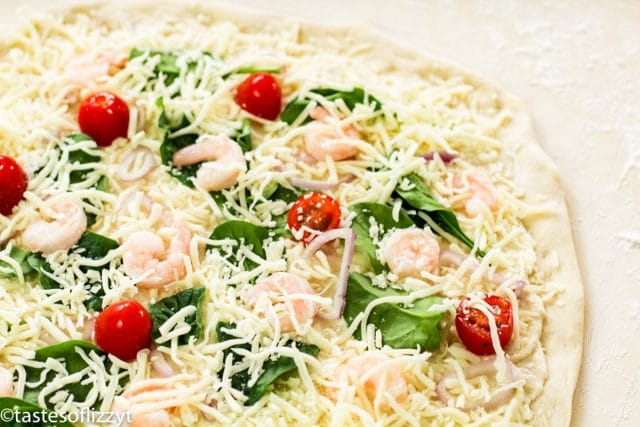 unbaked shrimp alfredo pizza