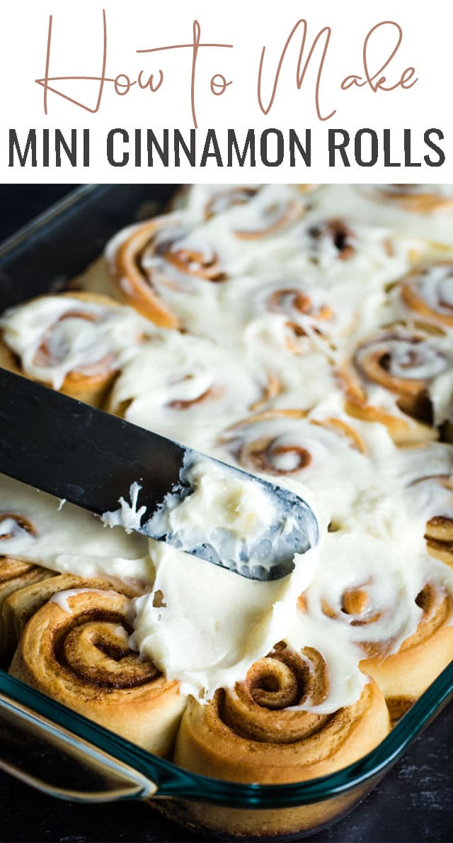 If you're looking for a little bite of sweet with your morning coffee, try these mini cinnamon rolls with cream cheese frosting. They're soft and fluffy! #cinnamonrolls #minicinnamonrolls via @tastesoflizzyt