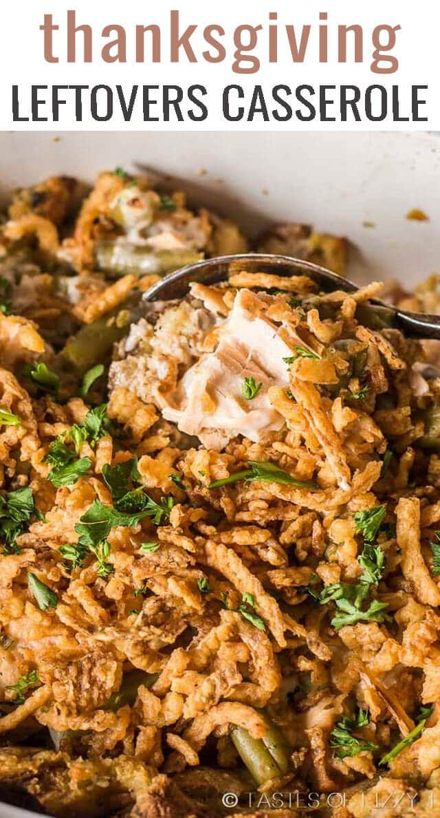 Use up your #Thanksgiving #leftovers to make this creamy Turkey and Stuffing #Casserole with green beans. All the flavors of Thanksgiving in one simple recipe. via @tastesoflizzyt