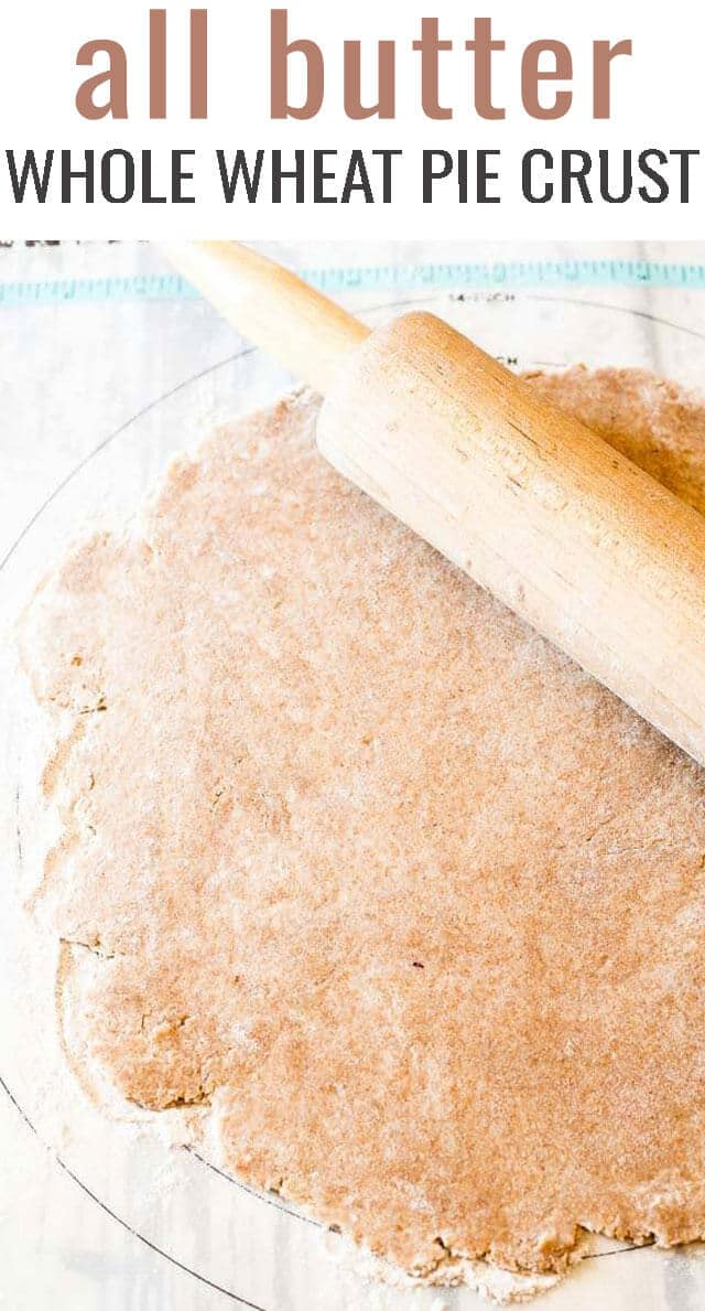 Wheat flour and wheat germ keep this All Butter Whole Wheat Pie Crust full of healthy whole grains. Read about our tricks for a healthier, flaky pie crust. #piecrust #pie #wholewheat via @tastesoflizzyt