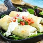 Baked Turkey Chimichangas with cream sauce