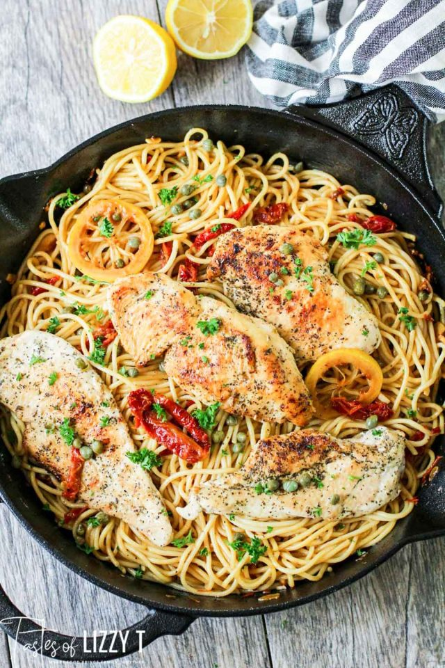 A skillet of pasta and chicken