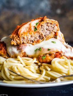 Cube Steak Parmesan with pasta