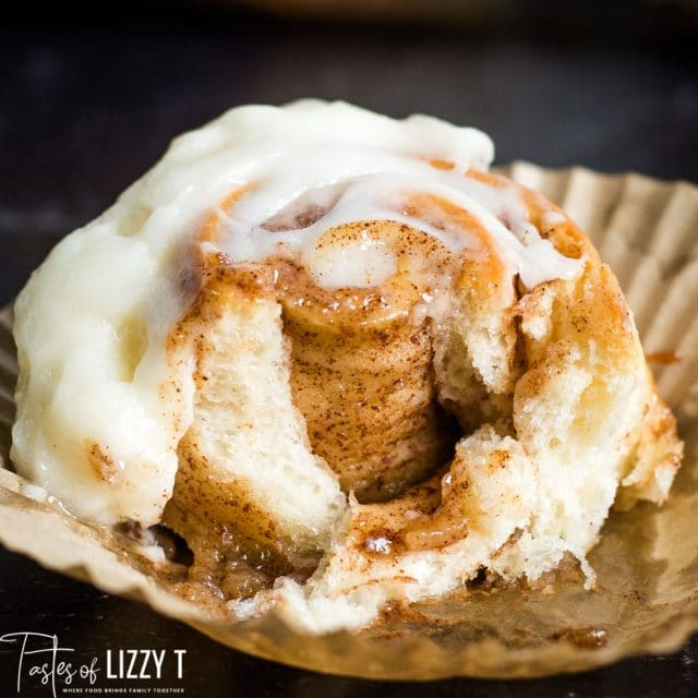 cut open cinnamon roll