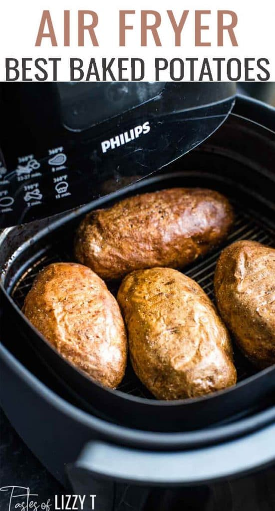 Need an easy side dish? Make Air Fryer Baked Potatoes. Get crispy skin and delicious flavor without turning on the oven.