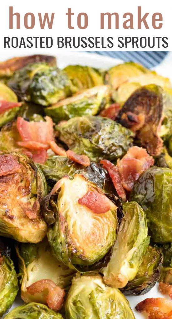 A close up of food, with Brussels and Bacon