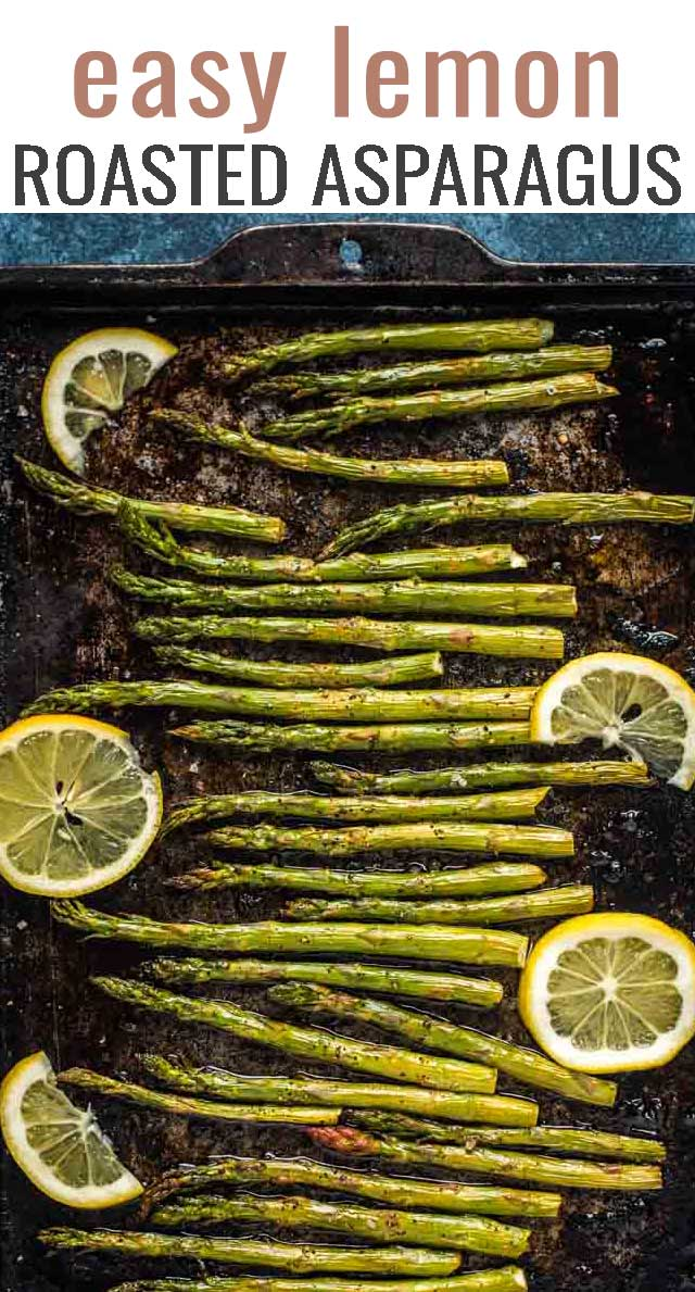 Crispy, fresh, and with just the right amount of lemon, this lemon roasted asparagus is a great side vegetable to go with dinner! #sidedish #asparagus #vegetables via @tastesoflizzyt
