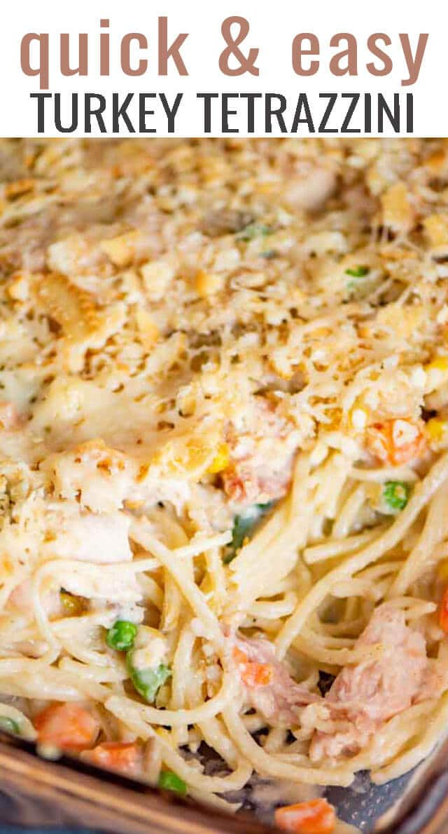 Use leftover turkey in this easy turkey casserole! Creamy Turkey Tetrazzini is full of pasta, vegetables and a homemade parmesan sauce. #casserole #turkey #leftovers #thanksgiving via @tastesoflizzyt