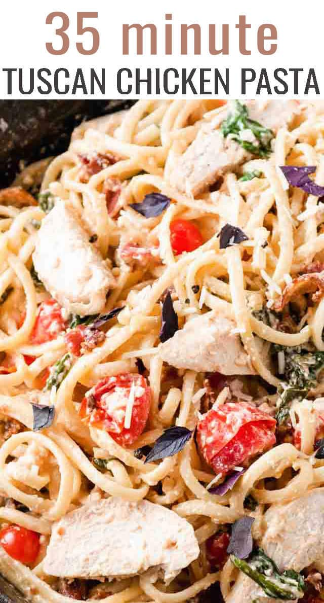 Creamy Tuscan chicken pasta brings together tender chicken breasts, fresh tomatoes, fresh spinach, and crispy bacon in a simple creamy alfredo sauce to make the perfect dinner for pasta night! #pasta #chicken #tuscan #dinner via @tastesoflizzyt