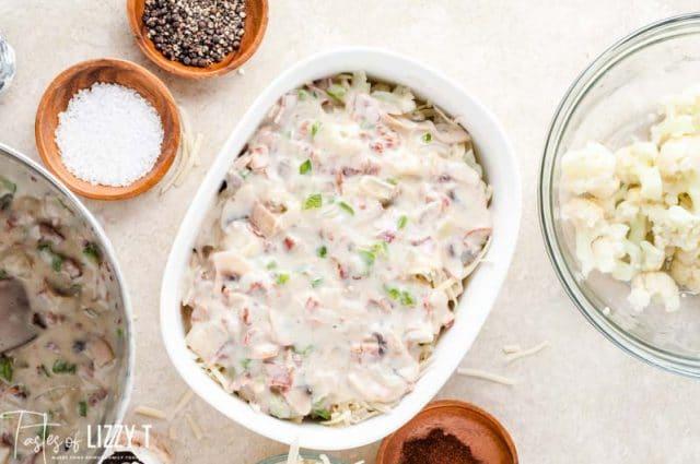 creamy casserole in a baking dish